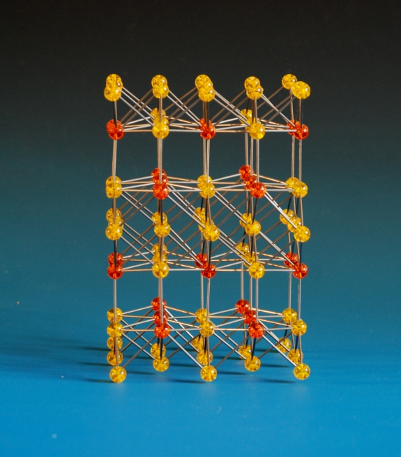 A crystal structure model of a copper antimony alloy