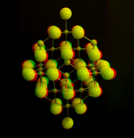 Anaglyph of a crystal structure model of spinel