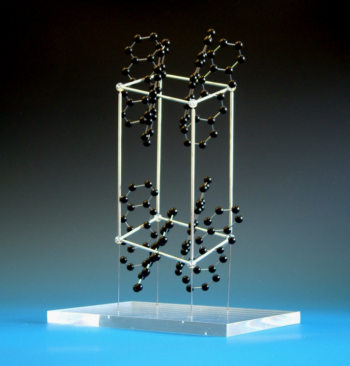 Molecular model of tetracene with unit cell